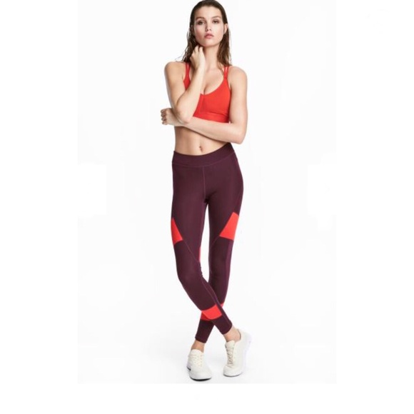 1a79a8da39 H&M Pants | Hm Burgundy Sport Tights | Poshmark